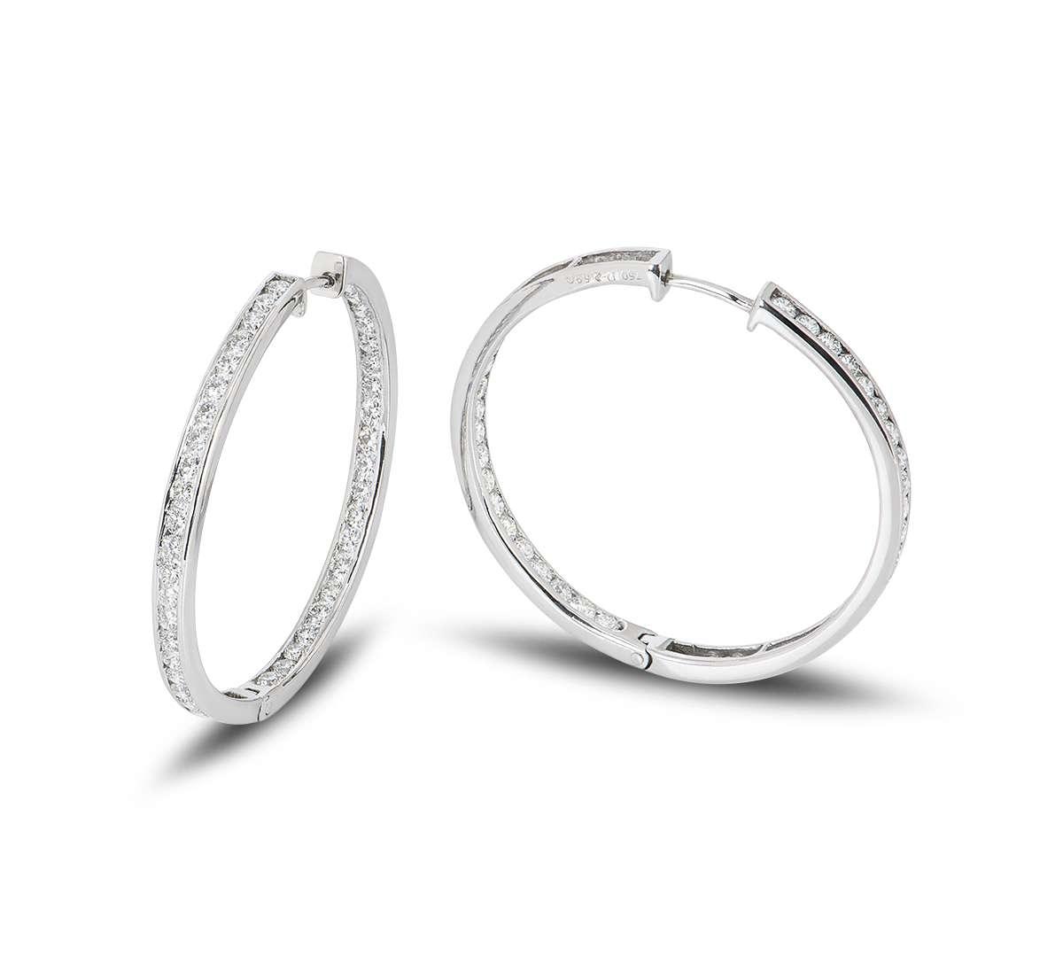 White Gold Diamond Set Hoop Earrings 2.59ct